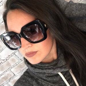 Gucci NWT Oversized Gloss Black & Gold Frames